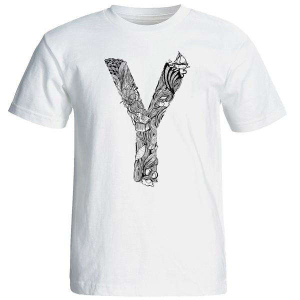 تی شرت آستین کوتاه مردانه شین دیزاین طرح حروف اول اسم Y  کد 4559