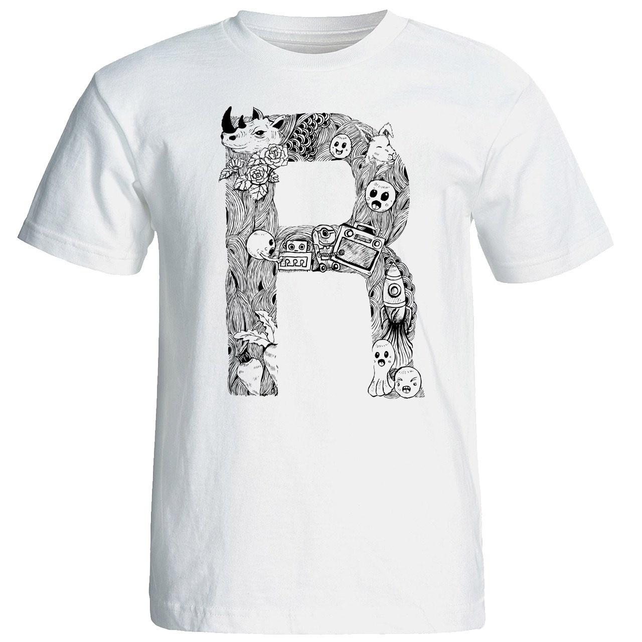 تصویر تی شرت آستین کوتاه مردانه شین دیزاین طرح حروف اول اسم R کد 4555