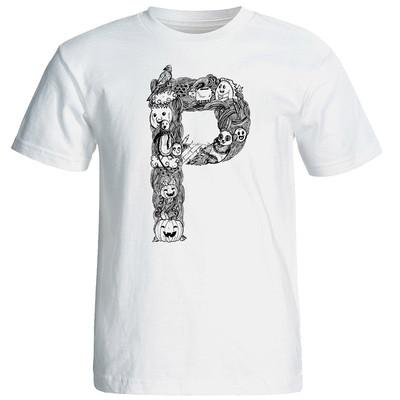 تصویر تی شرت آستین کوتاه مردانه شین دیزاین طرح حروف اول اسم P کد 4553