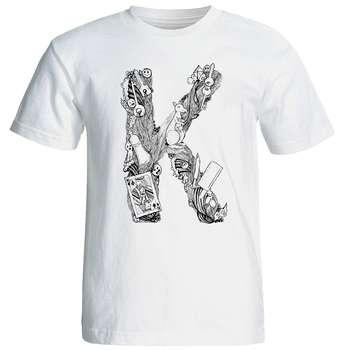 تی شرت آستین کوتاه مردانه شین دیزاین طرح حروف اول اسم K کد 4550