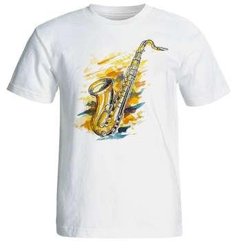 تی شرت آستین کوتاه مردانه شین دیزاین طرح ساکسیفون کد 4460