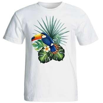 تی شرت آستین کوتاه زنانه شین دیزاین طرح پرنده کد 4468