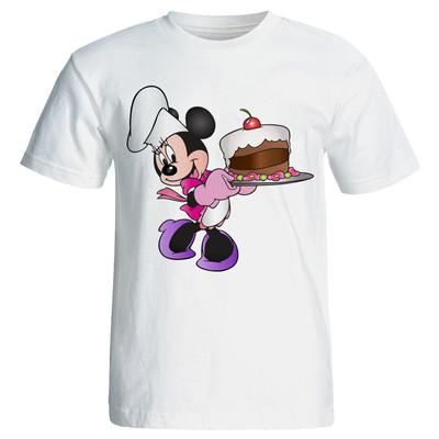 تصویر تی شرت زنانه طرح کیک تولد میکی موس کد 7075
