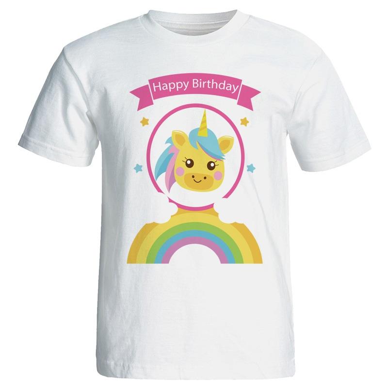 تصویر تی شرت زنانه طرح تک شاخ تولد کد 7070
