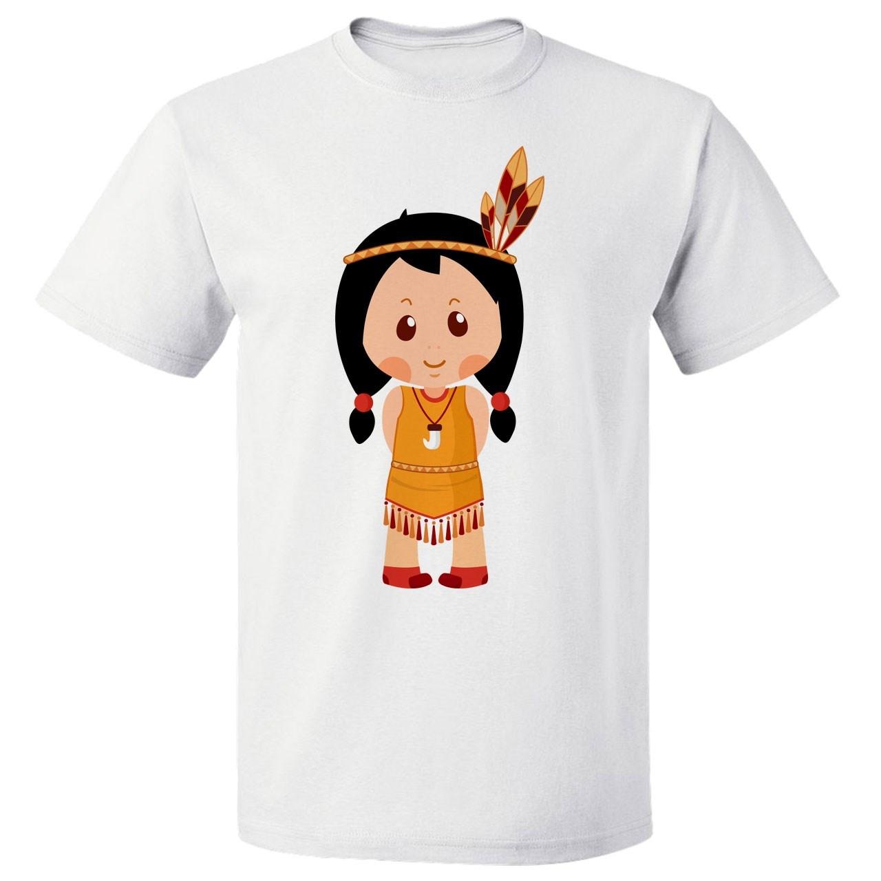 تی شرت پارس طرح کارتونی دختر سرخ پوست کد 7119