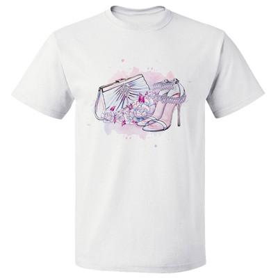 تی شرت پارس طرح کارتونی کفش کیف صورتی کد 7124
