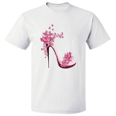 تی شرت پارس طرح کارتونی کفش گلدار کد 7123