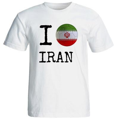 تصویر تی شرت آستین کوتاه زنانه شین دیزاین طرح فوتبال جام جهانی ای لاو ایران  کد 4567