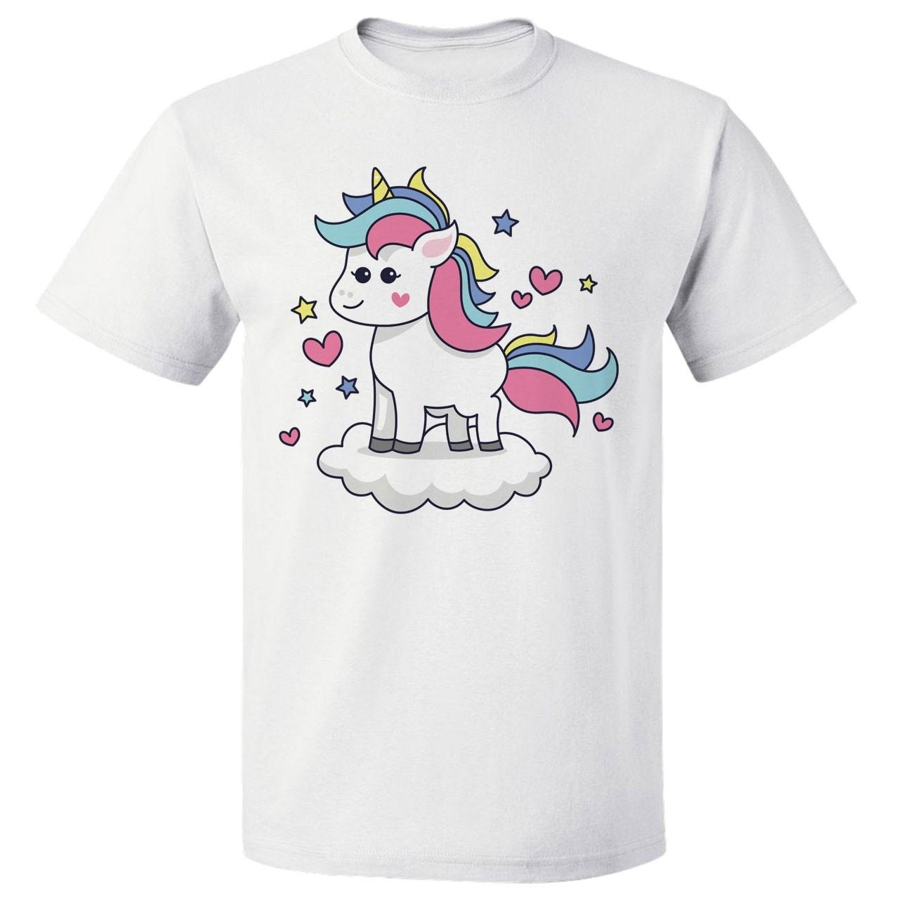 تی شرت پارس طرح  کارتونی اسب تک شاخ کد 7144
