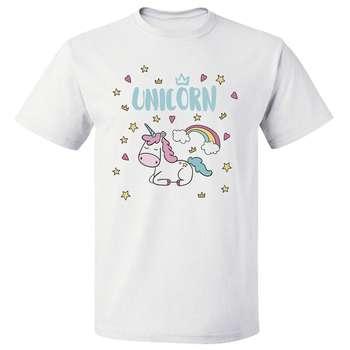 تی شرت پارس طرح کارتونی اسب تک شاخ رنگین کمان unicorn یونیکورن کد 7145