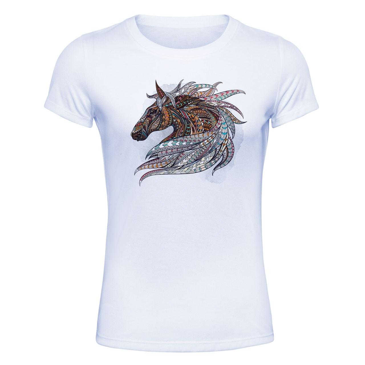 تیشرت آستین کوتاه زنانه الینور طرح اسب مدل ETZ05