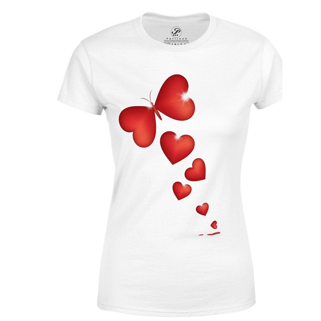 تیشرت آستین کوتاه پاتیلوک طرح قلب پروانه مدل 33095