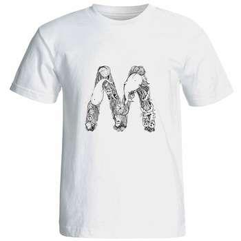 تی شرت آستین کوتاه زنانه شین دیزاین طرح حروف اول اسم M کد 4551
