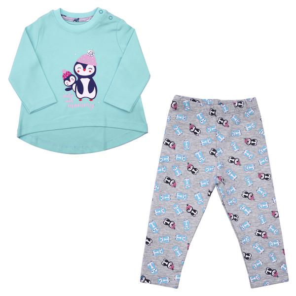 ست تیشرت و شلوار نوزادی دخترانه طرح پنگوئن کد PAN02 رنگ آبی