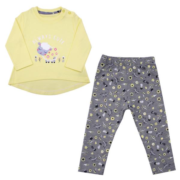 ست تیشرت و شلوار نوزادی دخترانه کد GOS01 رنگ زرد