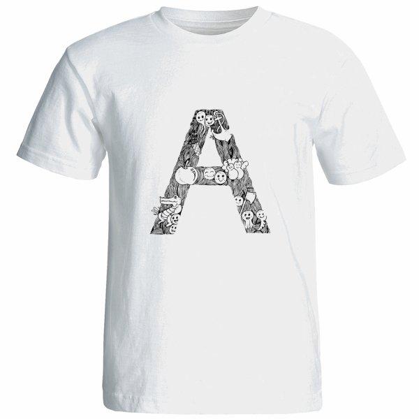 تی شرت آستین کوتاه زنانه شین دیزاین طرح حروف اول اسم A کد 4496
