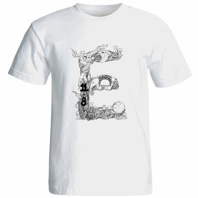 تی شرت آستین کوتاه زنانه شین دیزاین طرح حروف اول اسم E کد 4500