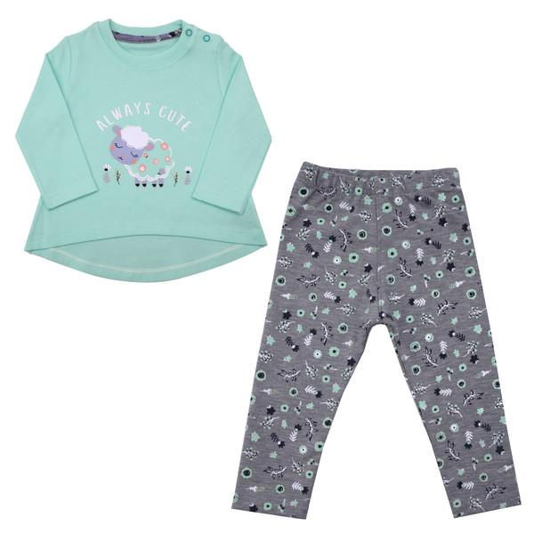 ست تیشرت و شلوار نوزادی دخترانه کد GOS02 رنگ سبز