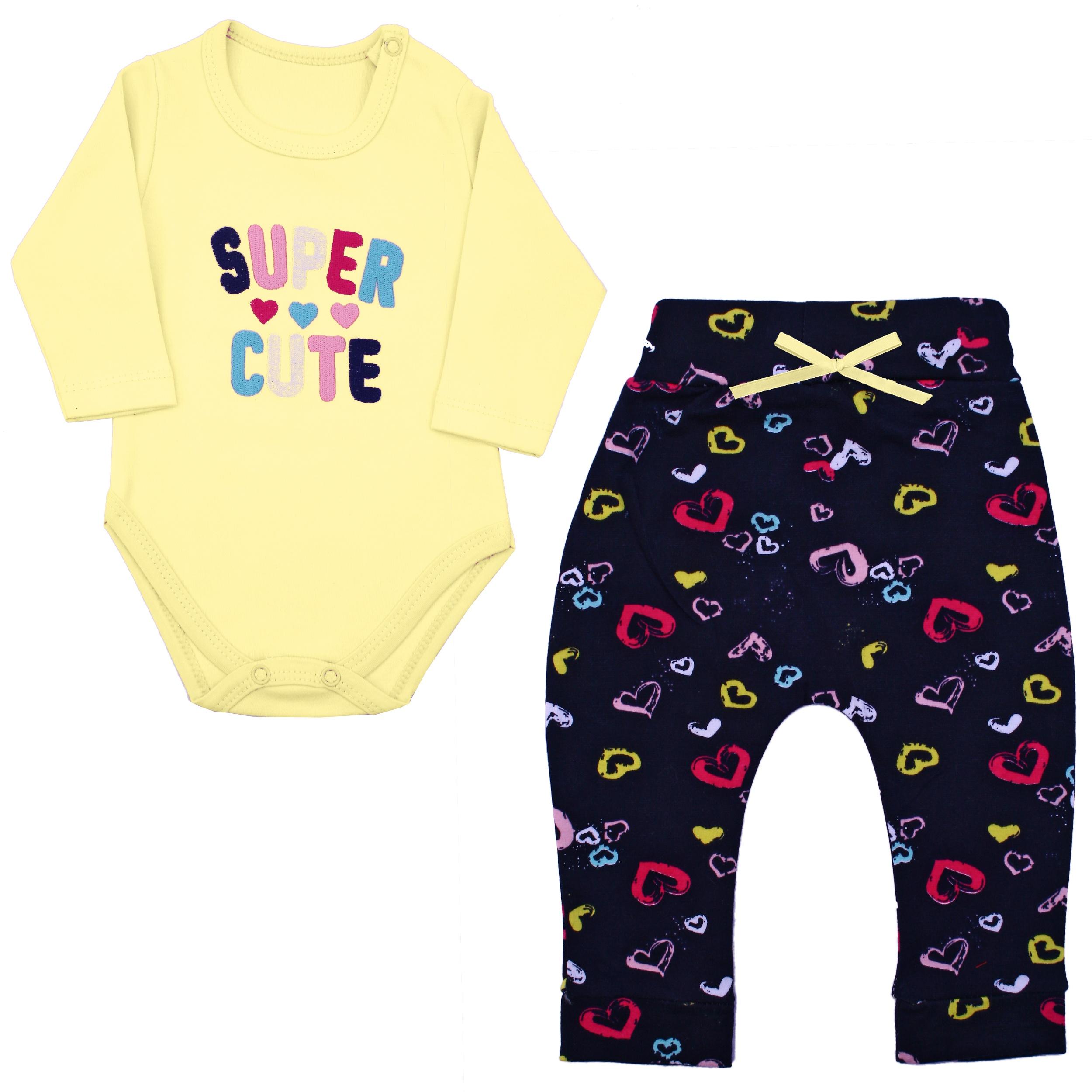 ست بادی و شلوار نوزادی دخترانه کد SUC03 رنگ زرد