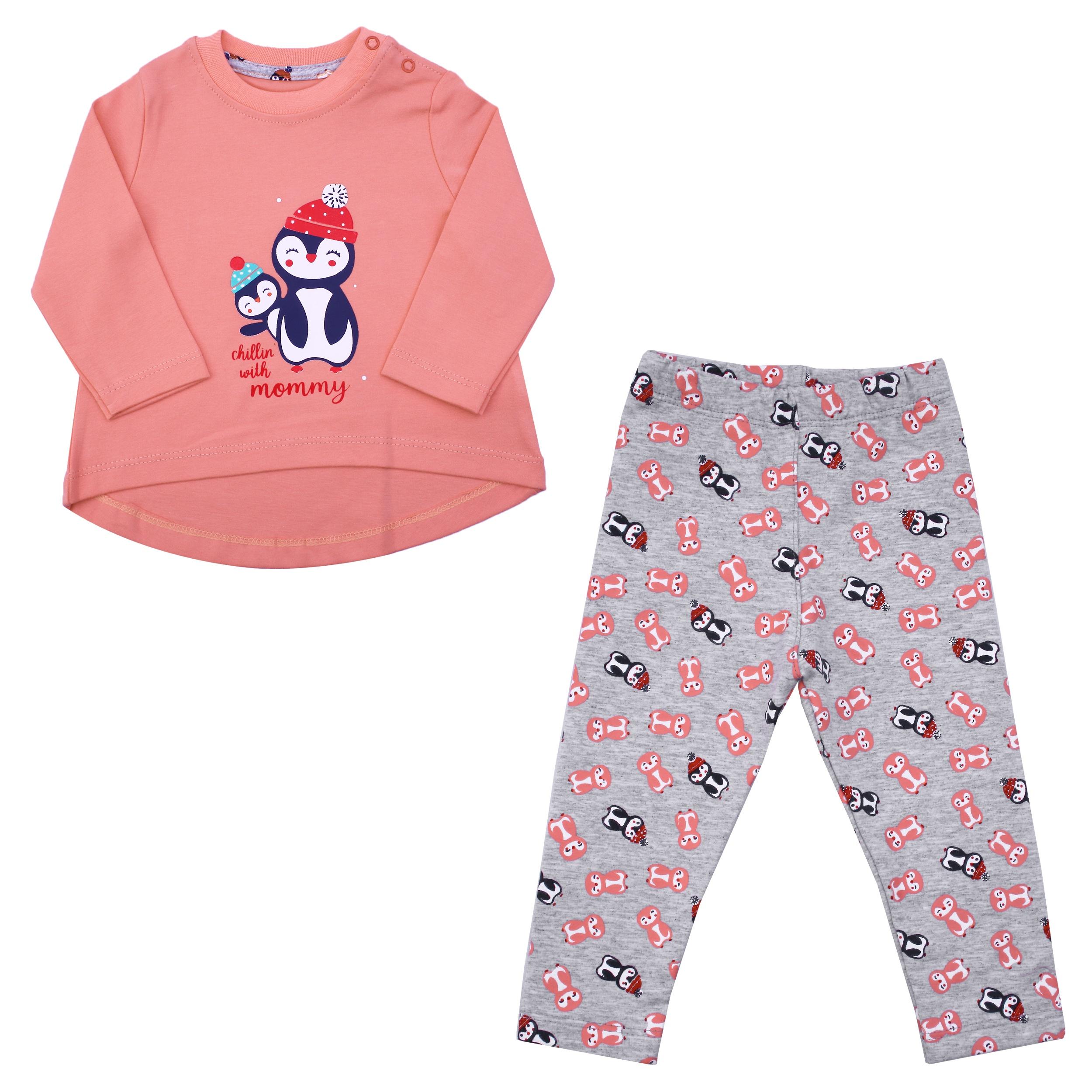 ست تیشرت و شلوار نوزادی دخترانه طرح پنگوئن کد PAN03 رنگ گلبهی