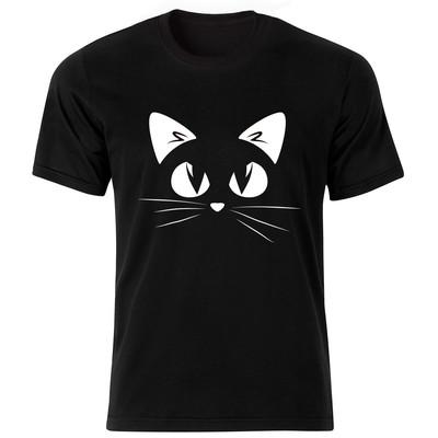 تصویر تی شرت آستین کوتاه گورانا طرح گربه 12009BW