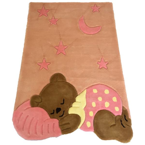 فرش نیمه دستی و برجسته پارس نگین مهام مدل خرس خوابالو صورتی