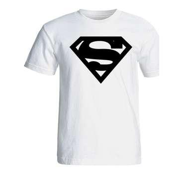 تی شرت آستین کوتاه سفید سالامین طرح بلک سوپرمن کد SA142
