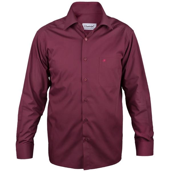 پیراهن آستین بلند مردانه اطمینان مدل کلاسیک رنگ زرشکی