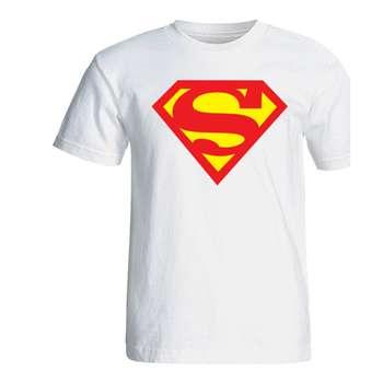 تی شرت آستین کوتاه سفید سالامین طرح سوپرمن کد SA141