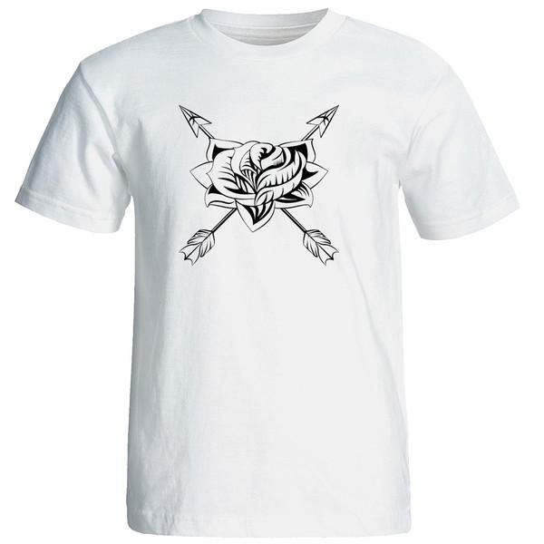 تی شرت استین کوتاه مردانه الی شاپ طرح گل و نیزه کد  12630