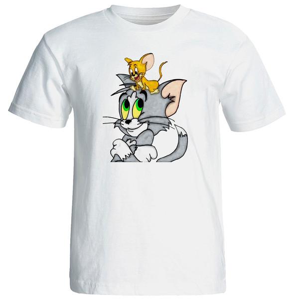 تی شرت استین کوتاه زنانه الی شاپ طرح تام جری کد  12637
