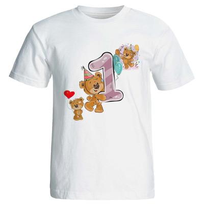 تصویر تی شرت آستین کوتاه مارس طرح تولد یک سالگی کد 3501