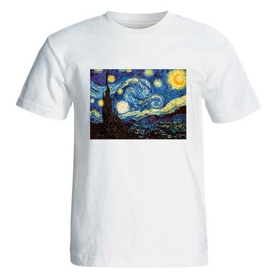 تی شرت آستین کوتاه زنانه طرح نقاشی ون گوگ  کد 4826
