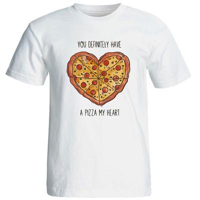 تصویر تی شرت زنانه طرح پیتزا کد 6937