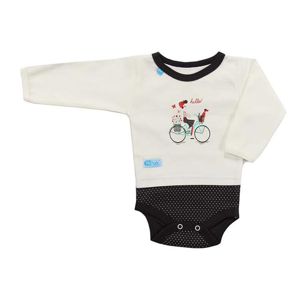 زیردکمه دار آستین بلند نوزادی تیک تاک طرح دوچرخه خالدار
