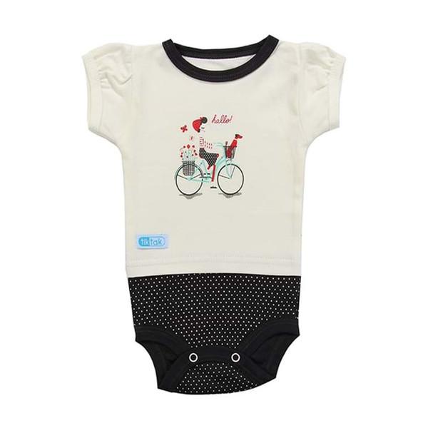 زیردکمه دار آستین کوتاه نوزادی تیک تاک طرح دوچرخه خالدار