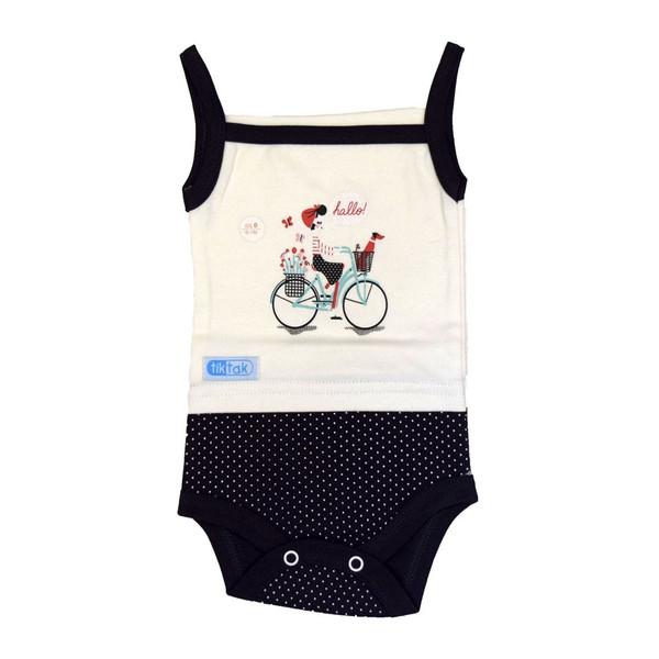 زیردکمه دار نوزادی تیک تاک طرح دوچرخه خالدار