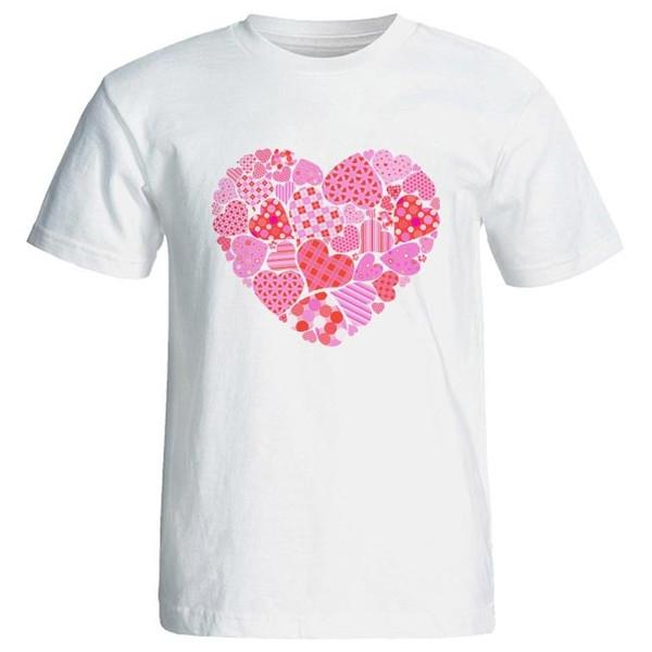 تی شرت زنانه طرح قلبها کد 3782 رنگ صورتی