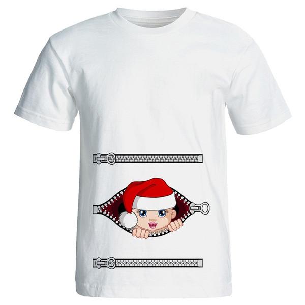 تی شرت زنانه طرح بارداری نی نی پاپا نوئل کد 3949