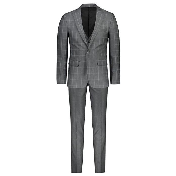 تصویر خرید کت و شلوار مردانه جلیقه دار مدل چهارخونه طوسی 002