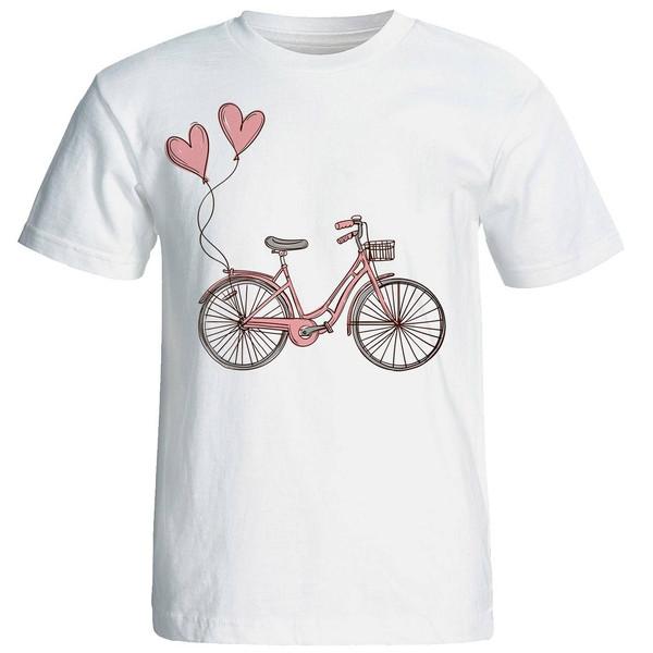 تی شرت آستین کوتاه زنانه طرح دوچرخه کد 4457