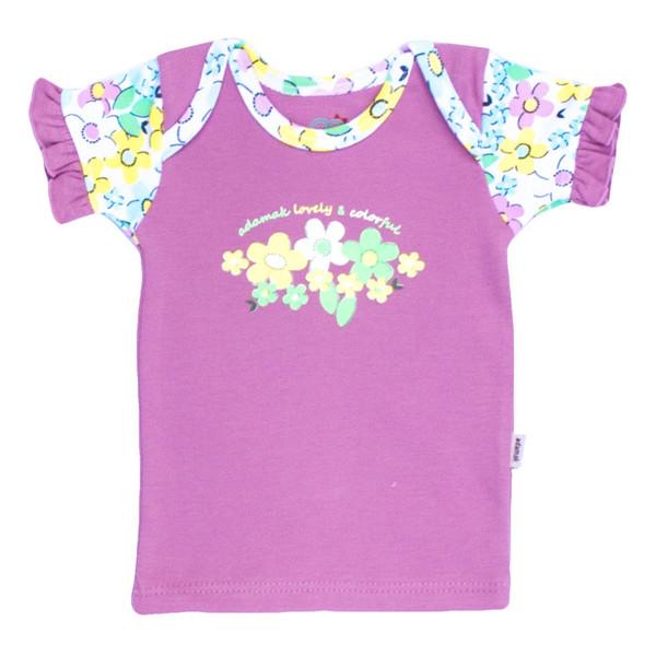 تیشرت آستین کوتاه آدمک طرح گلهای رنگارنگ