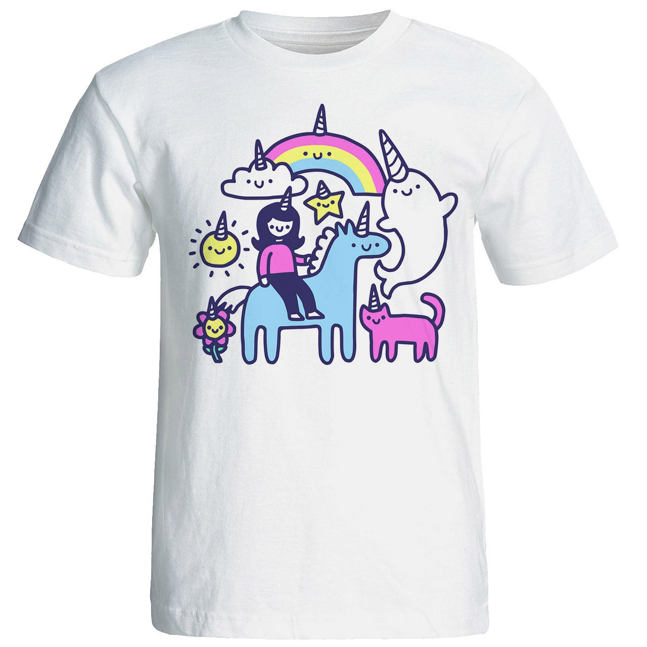 تی شرت آستین کوتاه نه طرح اسب تک شاخ کد 10244