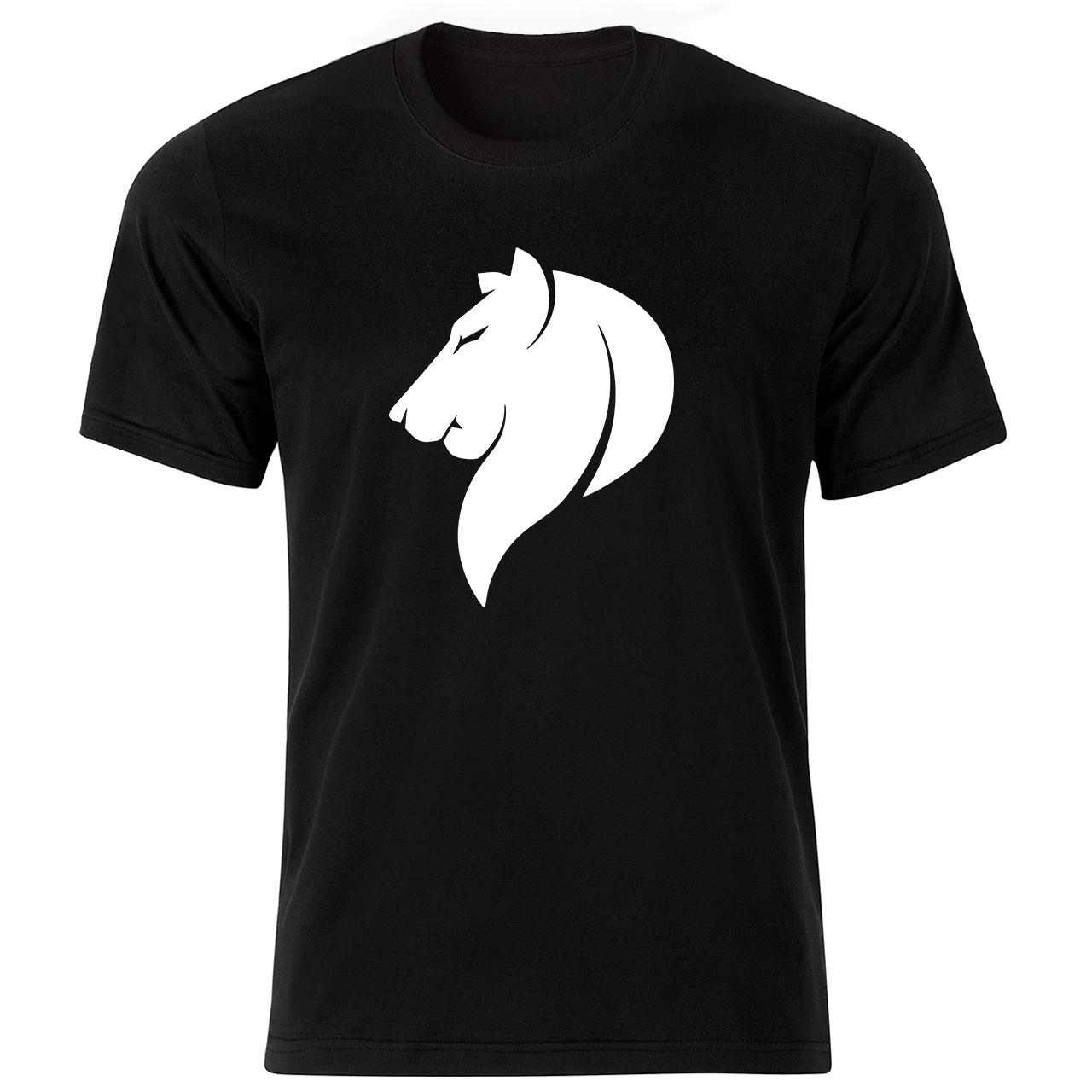 تی شرت آستین کوتاه مردانه طرح شیر کد ۱۸۰۶۹ BW
