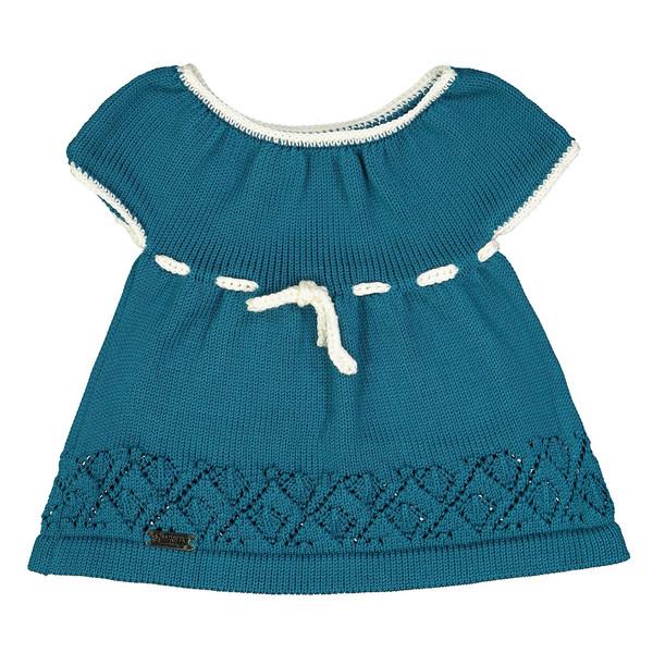 پیراهن دخترانه ثمین مدل Victoria رنگ آبی نفتی