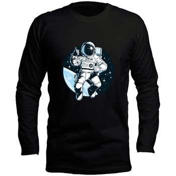 تیشرت مشکی آستین بلند مردانه طرح فضانورد کد LB132 رنگ مشکی