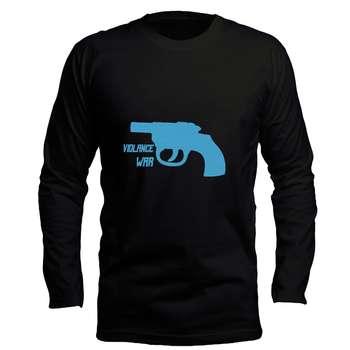 تیشرت آستین بلند مردانه طرح اسلحه کد LB122  رنگ مشکی