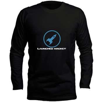 تیشرت مشکی آستین بلند مردانه طرح راکت کد LB145 رنگ مشکی