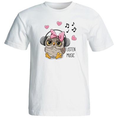 تصویر تی شرت زنانه طرح جغد کد 3420