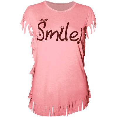 تصویر تی شرت زنانه مدل Smile-Light Pink